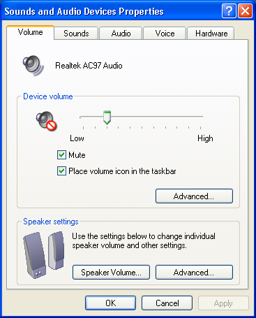 Windows XP: Sounds and Audio Devices Properties