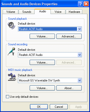 Windows XP: Sounds and Audio Devices: Audio Tab