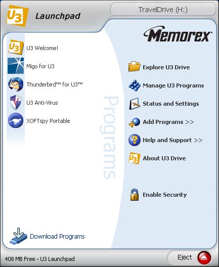 Memorex USB thumbdrive running U3 software