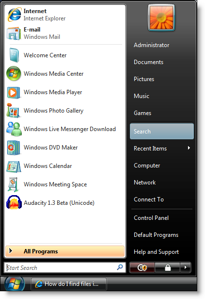 Windows Vista: Start Menu