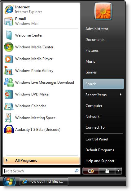 Windows Vista: Start Menu
