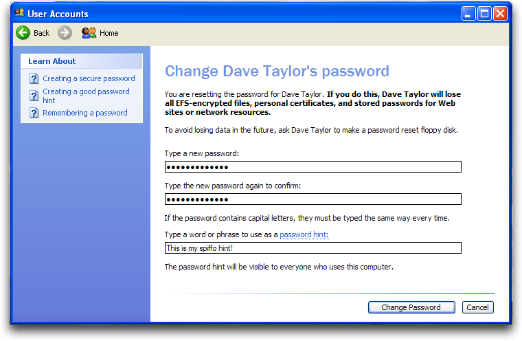WinXP: Control Panel: User Accounts: Change Account Password