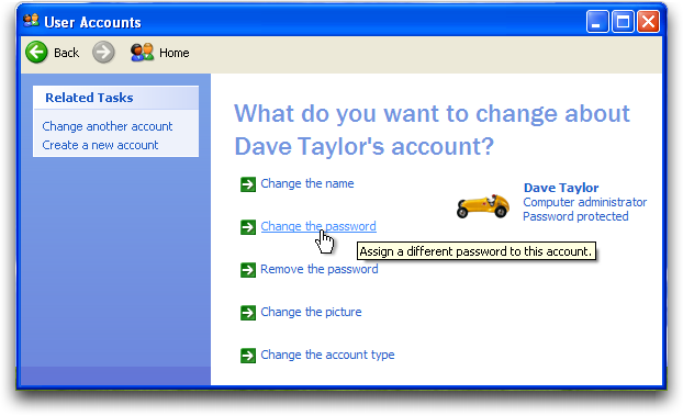 WinXP: Control Panel: User Accounts: Change Password