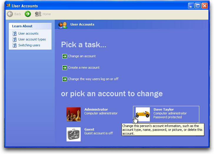 WinXP: Control Panel: User Accounts: Pick an Account to Modify