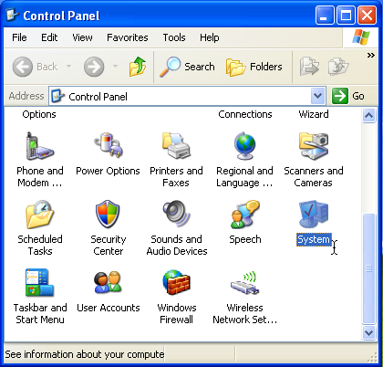 Windows XP [winxp] Control Panels: System