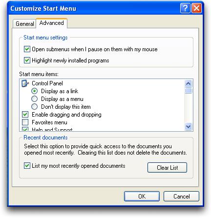 Windows XP Taskbar (winxp): Customize Start Menu: Advanced