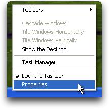 Right Clicking on the Windows XP Taskbar (winxp)