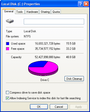 Windows XP Free Disk Space