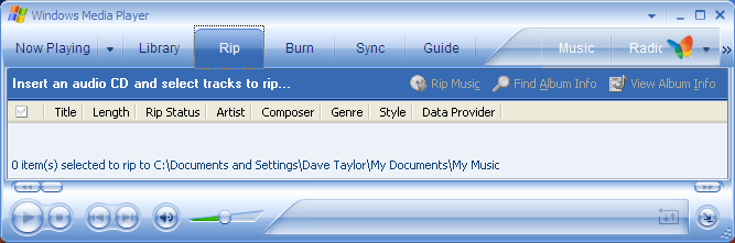 Windows Media Player 10: Rip CD