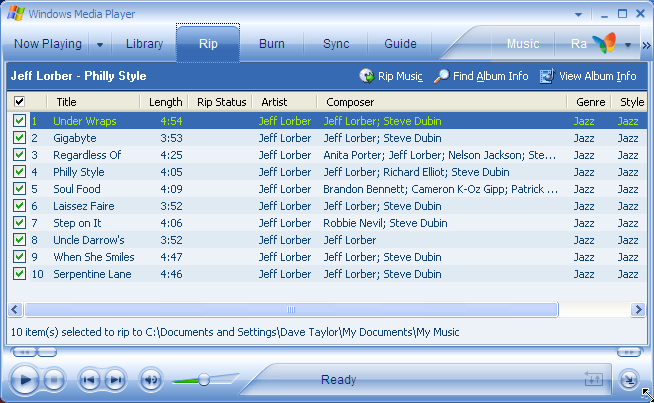 Windows Media Player 10: Music CD Information