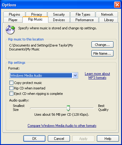 Windows Media Player 10: Rip Music Settings