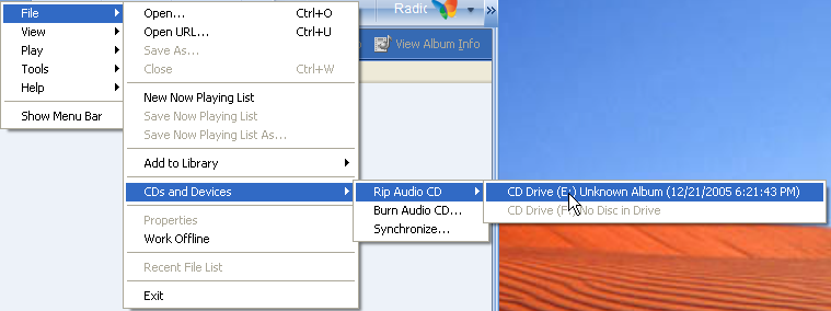Windows Media Player 10: Select Audio CD