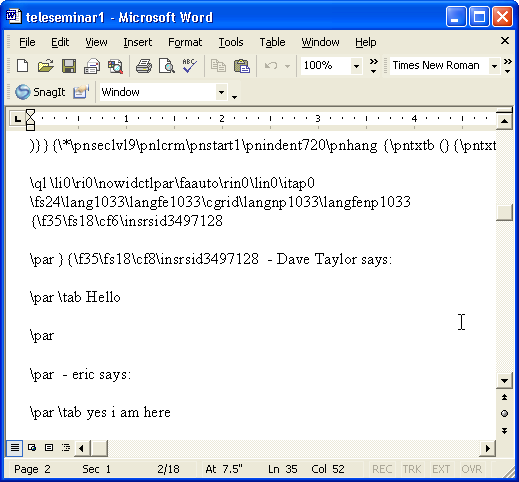 Microsoft Word for Windows: Deleted Text