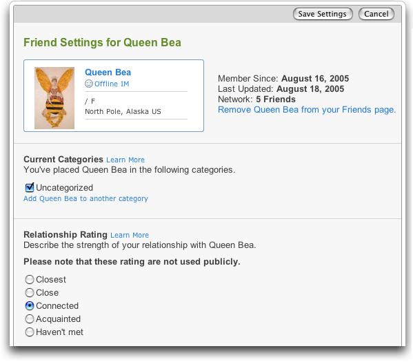 Yahoo 360 My Friends: Friend Settings