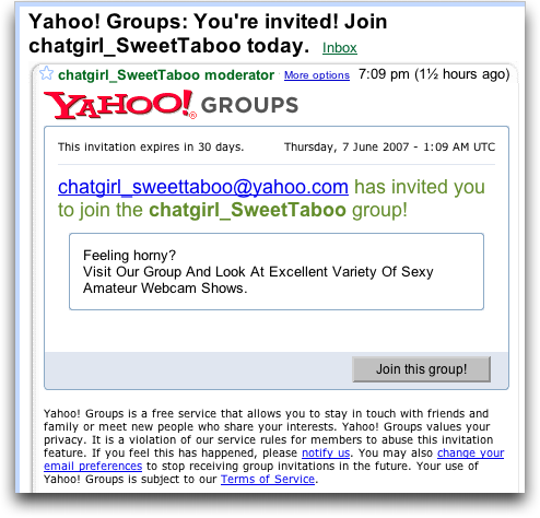 Yahoo Groups: Porn and Spam?