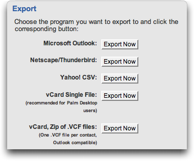 Yahoo Mail: Address Book Export