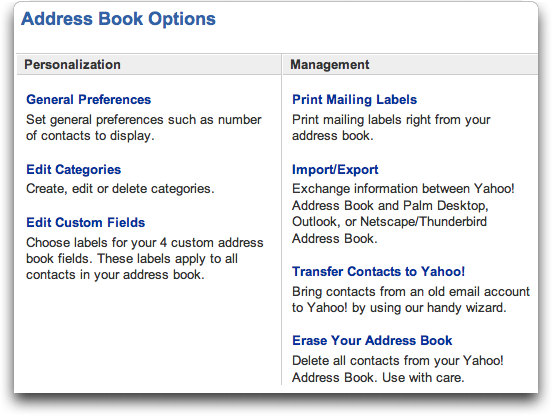 Yahoo Mail: Address Book Options