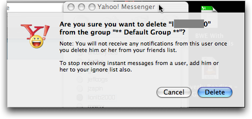 Yahoo Messenger (YIM) for Mac OS X: Confirm Delete