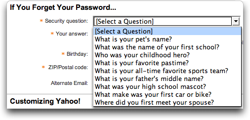 Yahoo! Password Reminder Questions
