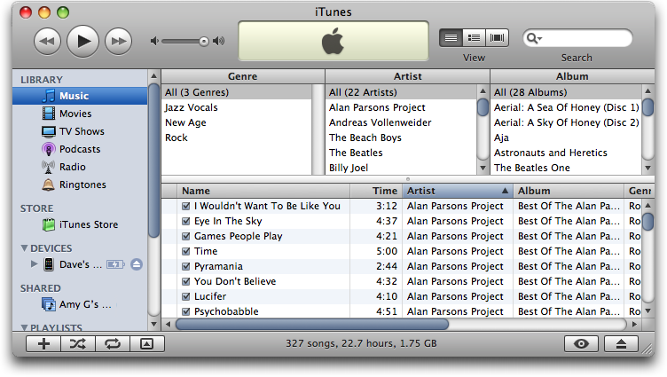 Mac iTunes Senuti: iTunes showing music copied with Senuti from an Apple iPhone