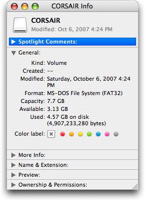 Mac OS X: Get Info: Corsair 8GB Flash Survivor GT Drive