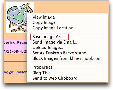 cartoon globe: Flock pop-up menu for saving image