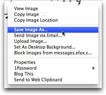 eFax: Browser pop-up menu on free fax display
