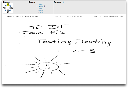 eFax: free fax displayed in Web browser