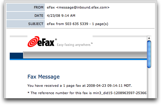 eFax: message displayed in eFax free message display center