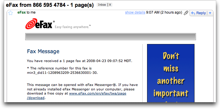 eFax: Fax Received email from within Google Gmail