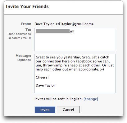 How do i invite a friend to join me on facebook ask dave taylor facebook invite friends invitation compose window stopboris Image collections