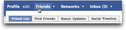 Facebook navigation menu bar: Friends
