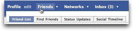 Facebook navigation menu bar: Friends
