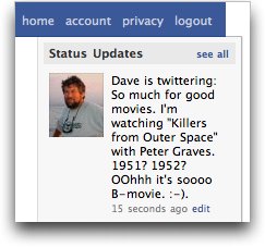 Facebook status updated from Twitter Tweet