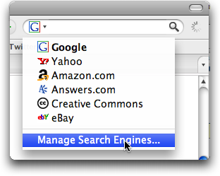 Firefox: Custom Search Engine: Pop-up menu
