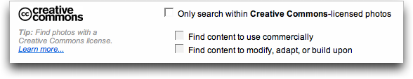 Flickr : Search for Creative Commons licenses