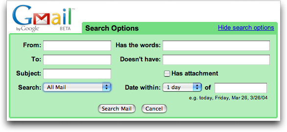 Google Gmail: Advanced Search Options