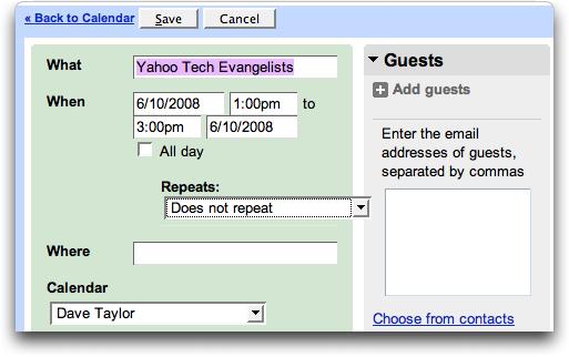 Google Calendar: copied calendar event