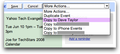 Google Calendar: event: Copy To another calendar