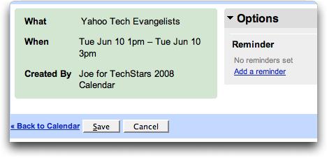 Google Calendar: read only shared calendar: event details