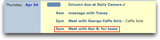 TinyCal Google Calendar / Mac OS X utility