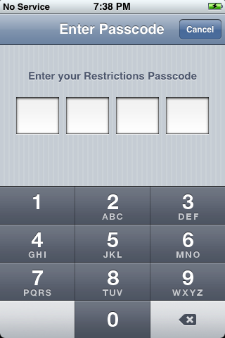iphone reset 5: Settings: Enter Restrictions Passcode