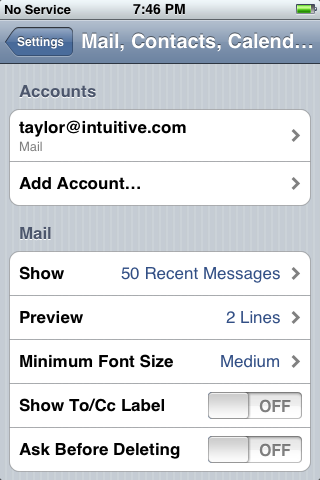 iphone reset 9: Mail, Contacts, Calendars