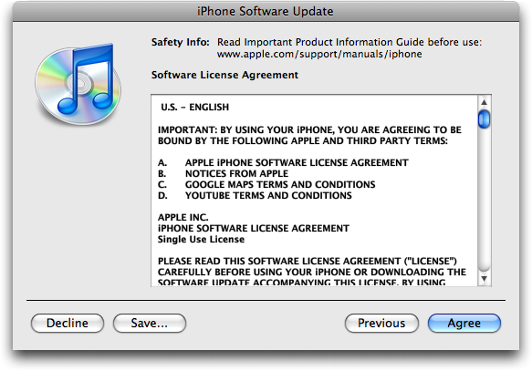 itunes 2.0.1 update license