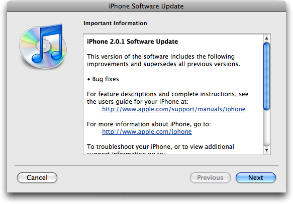 itunes 2.0.1 update terms