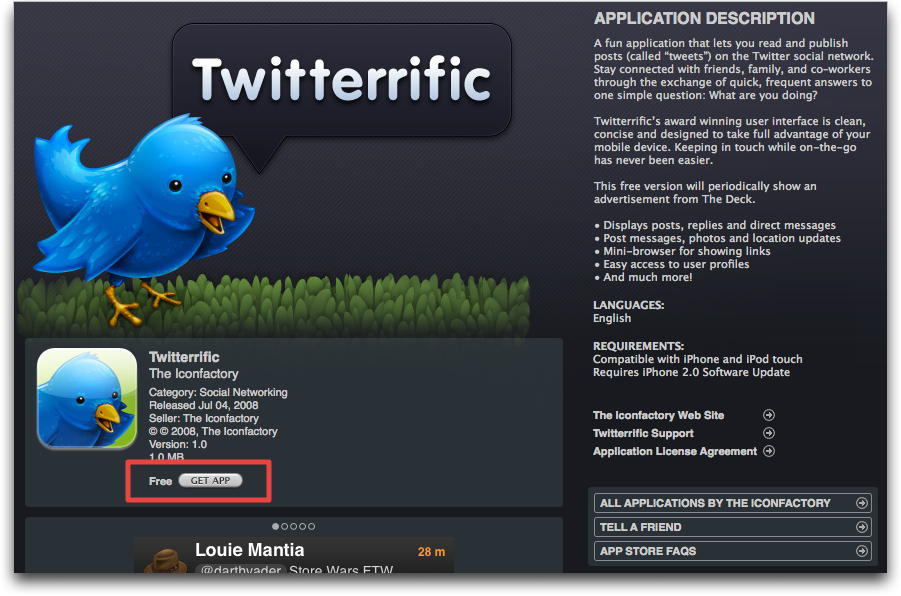 itunes app store twitterific