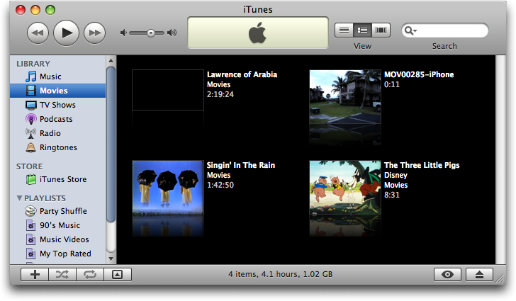 Mac OS X: Apple iPhone: iTunes Music Library: Movies