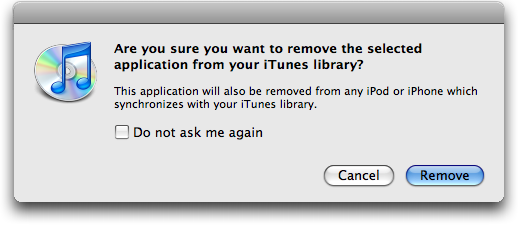 itunes remove application