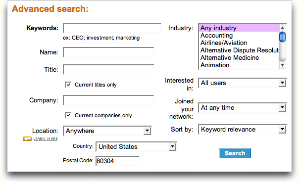 LinkedIn: Advanced Search