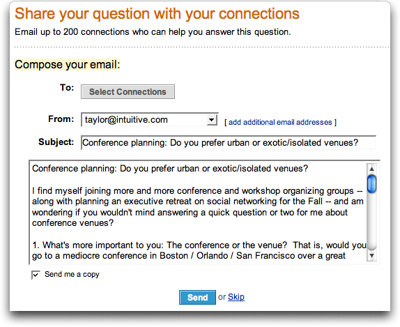 LinkedIn: Ask A Question: Select Connections